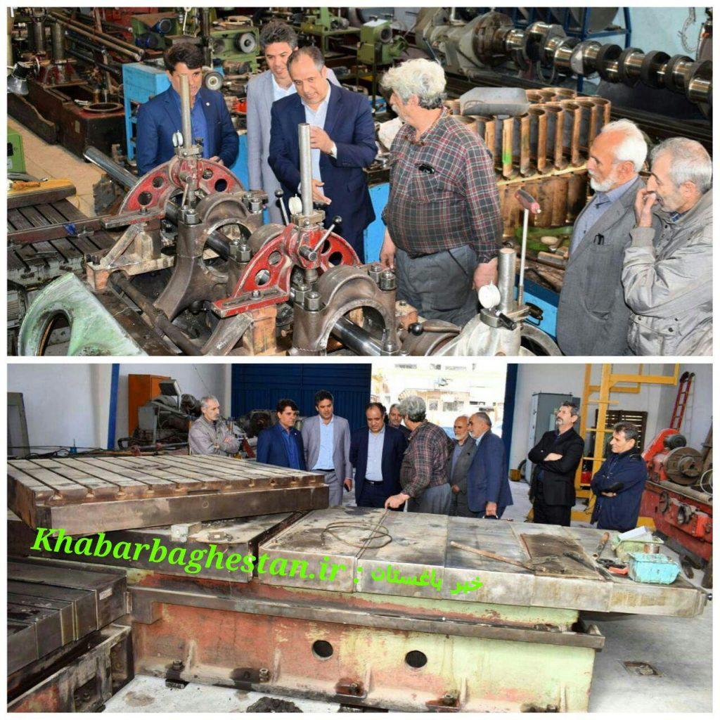 بازدید مهندس محمودی از مجموعه صنعتی بازسازی موتورهای قطار و کشتی در شهر باغستان