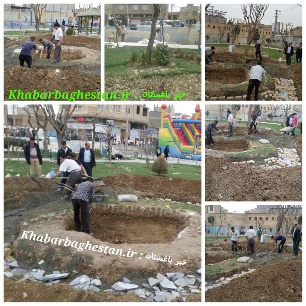 آماده سازی محل دفن دو شهید گمنام دوران دفاع مقدس در پارک زنبق نصیرآباد