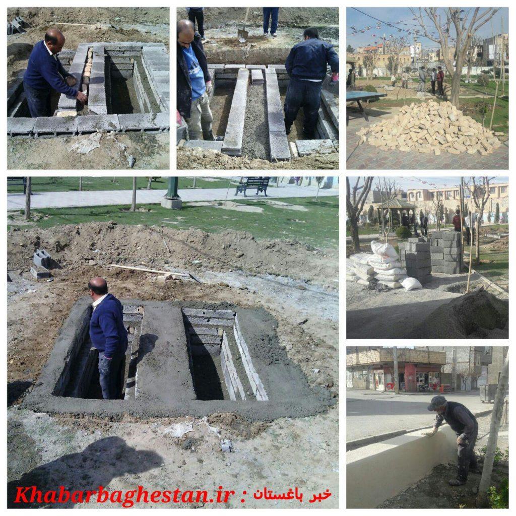 آماده سازی محل دفن دو شهید گمنام دوران دفاع مقدس در پارک زنبق نصیرآبادباغستان
