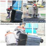 شستشوی باکس زباله نصیرآباد توسط خدمات شهری شهرداری باغستان