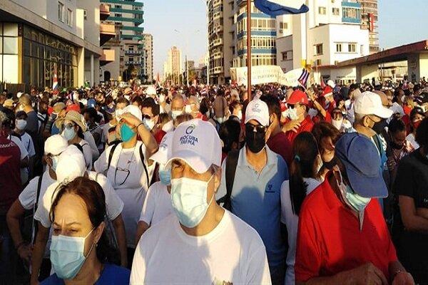 مردم کوبا علیه آمریکا و دخالت های خارجی تظاهرات کردند